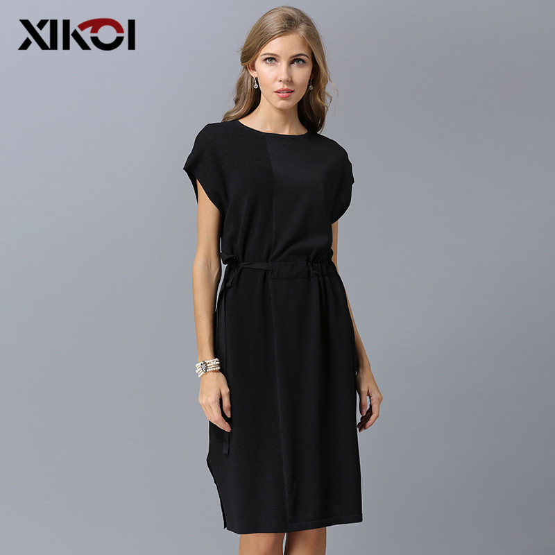 XIKOI Summer Women Fashion Elegant Knitted Dress High Quality Knee Length Dresses Female Casual Short Sleeve Sash Sweater Dress