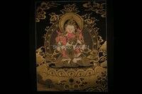 The spot Tibet Lama hand painted Thangka Mandala black painted study the living room wall hanging Happy Buddha 50*39
