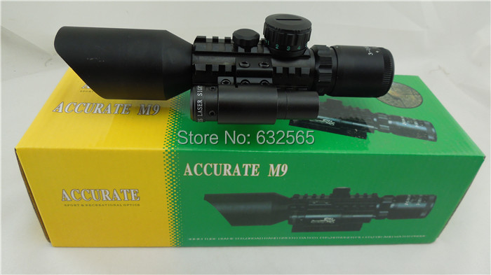 Free shipping Tactical Combat M9C 3-10X42E Mil-Dot hunting rifle scope+red laser /Tactical Optics Scopes/Riflescope прицел hawke panorama ev 3 9x50 10x half mil dot ir hk5161