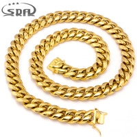 SDA Miami Cuban Chains For Men Gold Color 316L Stainless Steel Long Chunky Necklace Hiphop Jewelry