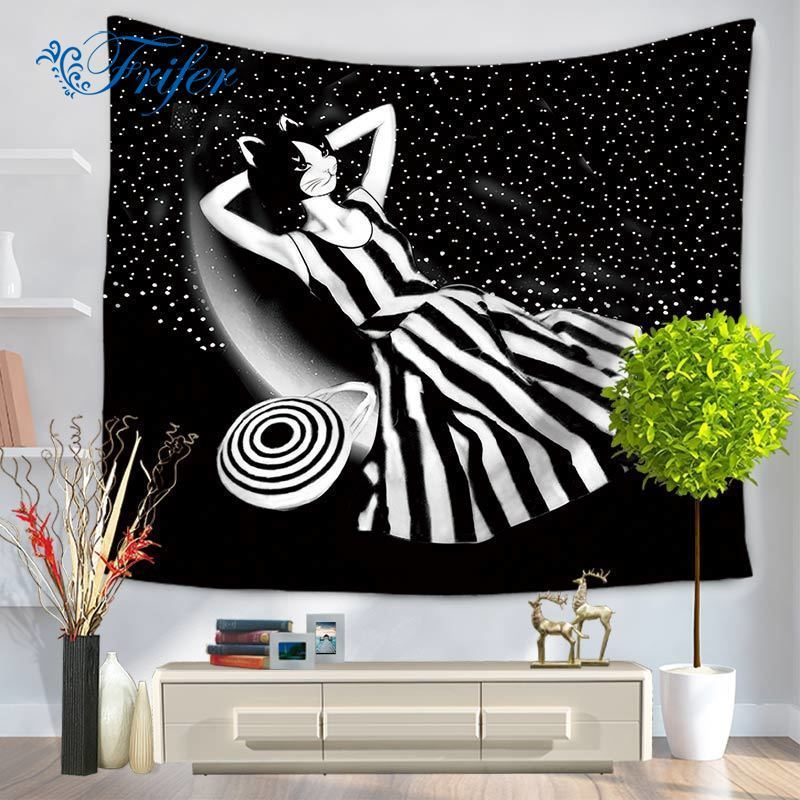 Fashion Catwoman Wall Hanging Blanket Tapestry Drap Mural Sitting Carpet Beach Towel Mandala Gobelin For Home Decor Tapestries