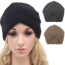 Gorros de invierno para mujer gorro turbante de Color sólido de ganchillo 095e0daa6b3