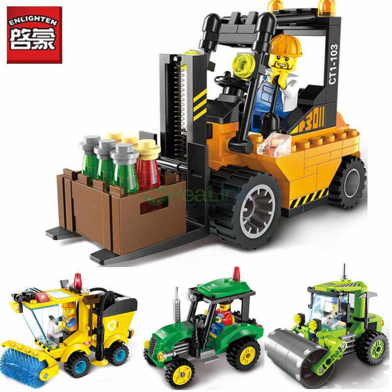 Enlamten 2 шт./партия городская серия дорожный роллер вилочный погрузчик трактор подметальная машина LegoINGs строительные блоки Наборы игрушек для детей