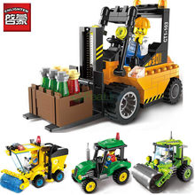 Enlighten 2pcs/lot City Series Road Roller Forklift Truck Tractor Sweeper LegoINGs Building Blocks Sets Toys for children(China)
