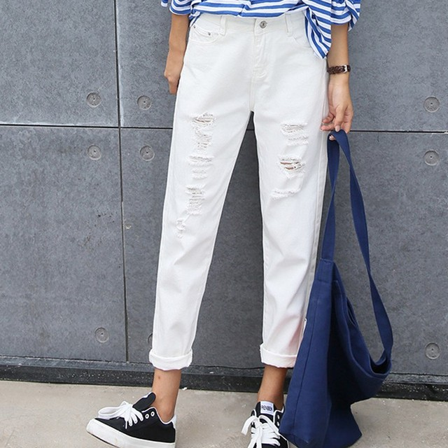 New White Ripped Jeans Loose Pencil Femme Jeans Woman 7js015 In