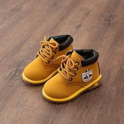 Дети Детская обувь из искусственной кожи для маленьких девочек мальчиков ботинки Водонепроницаемый дышащие на низком каблуке ботильоны