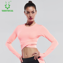Sexy Exposed navel Yoga T-shirts Women Long Sleeve Running Tees Quick Dry Fitness Gym Crop Tops Vansydical Solid Sports Shirts