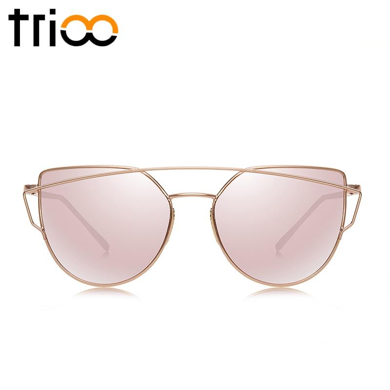 TRIOO Rose Gold Sluneční Brýle Dámské Oční Kočky Oculos Luxusní Design Twin-Beams Lens Sluneční Brýle Ochranné Stíny UV400