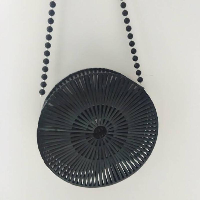 купить Bamboo Bag Round Wooden Handbag Woven Hollow Out Bohemina Handbags Women Rattan Straw Bags Designer Women Shoulder Bag Summer недорого