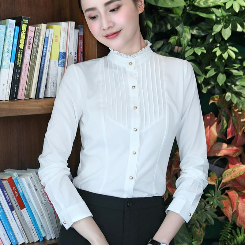 Image 2 - Spring Fashion women clothing long sleeve white blouses formal slim lace stand collar chiffon shirt office ladies plus size topsoffice ladyoffice lady fashionplus size tops -