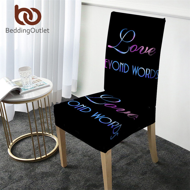 BeddingOutlet Letters Printing Chair Covers Removable Spandex Elastic Slipcover Anti-dirty Modern Seat Case Cover for Kitchen