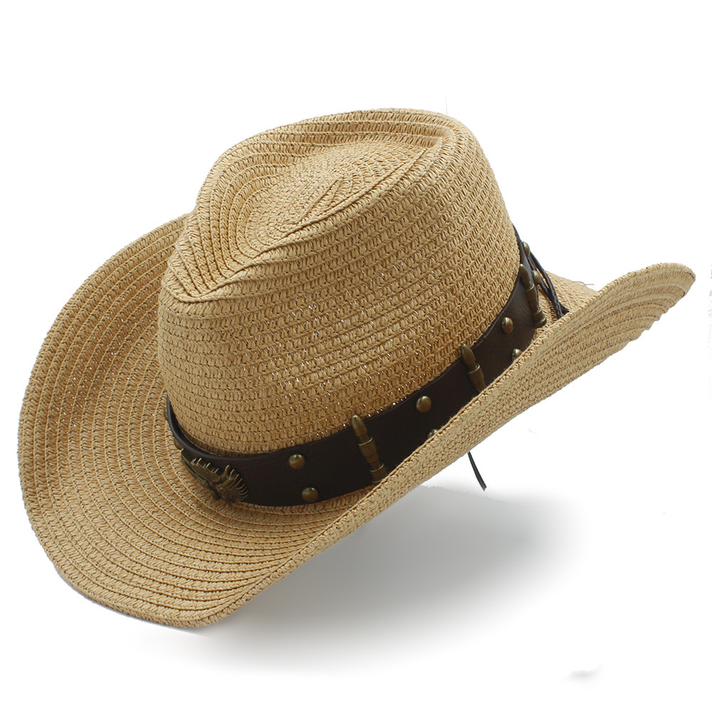 2022 Women Men Straw Sun Sun Hat Lady Dad Sombrero Hombre Cowboy Jazz Caps Size 56- 58CM
