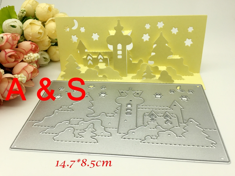 K04 3D folding card castle tree star moon METAL CUTTING DIES cut DIY Scrapbooking paper craft card album embossing knife blade