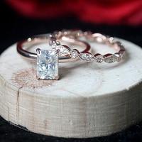Moissanite Wedding Set 1.2ct 5x7mm Radiant Cut Moissanite Engagement Ring & Full Eternity Wedding Band For Fine Jewelry