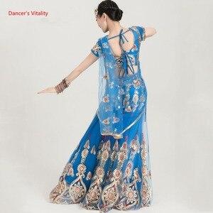 Image 5 - Ropa de baile India para adultos, traje de danza del vientre para mujer, trajes de espectáculo escénico, Tops + falda de Swing grande + conjunto de velo, 3 uds., novedad de 2018