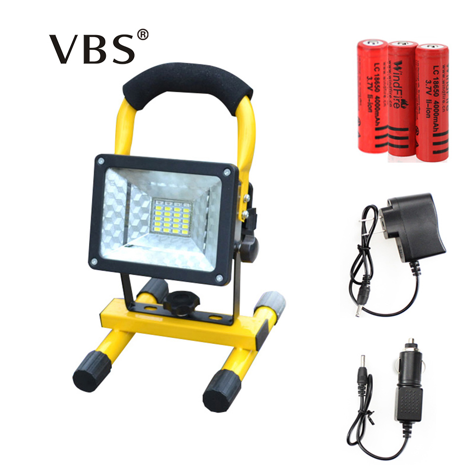 LED Floodlight 30W 24 leds portable Flood light Spotlight 2000lm Waterproof Outdoor rechargeable light power by 3x 18650 battery