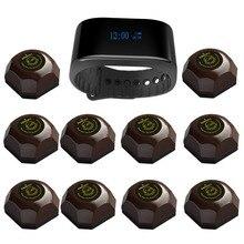 SINGCALL Sistema de paginación inalámbrica para llamadas de invitados, servicio de llamadas de alarma 1 APE6900, reloj nuevo con 10 botones de llamada de buscapersonas