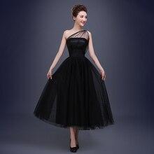 Tee Länge Tüll Formale Abendkleid Eine Schulter Formales Parteikleider Schwarz Abendkleider 2016