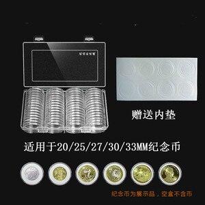 60 шт./компл., пластиковый прозрачный ящик для хранения монет, Круглый держатель для монет в коробке, 20/25/27/30/33 мм, чехол для хранения монет в ка...