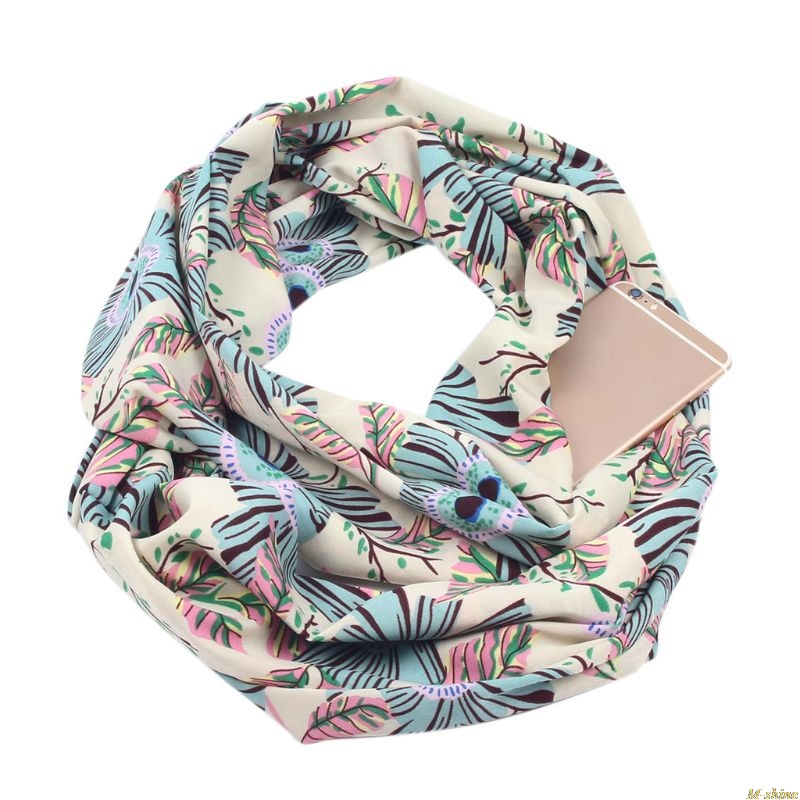 Womens Double Layer Secret Hidden Zipper Pocket Infinity Loop Scarf Boho Style Floral Geometric  Printed   Winter Ring Blanket