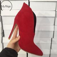 Faux Suede Ankle Boots Shoes Woman Deep V Shape Shoes Thin High Heels Spring Autumn Party Club Short Boots Solid Pointed Toe