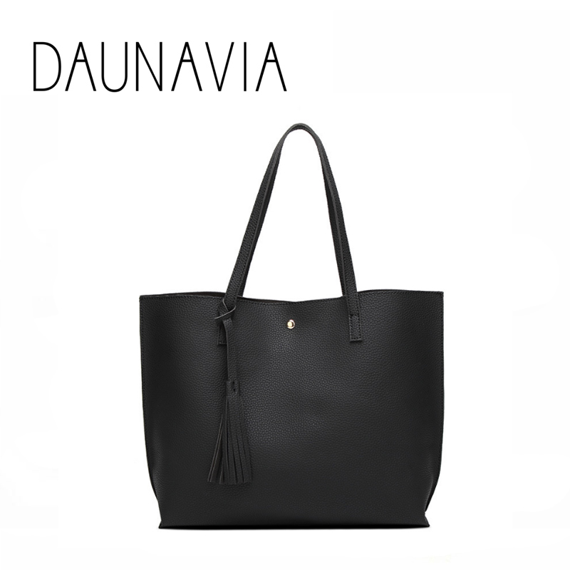 DAUNAVIA brand New Women Shoulder Bag Soft Leather Top Handle Bags Ladies Tassel Tote Handbag Large capacity women shopping bag women bag set top handle big capacity female tassel handbag fashion shoulder bag purse ladies pu leather crossbody bag