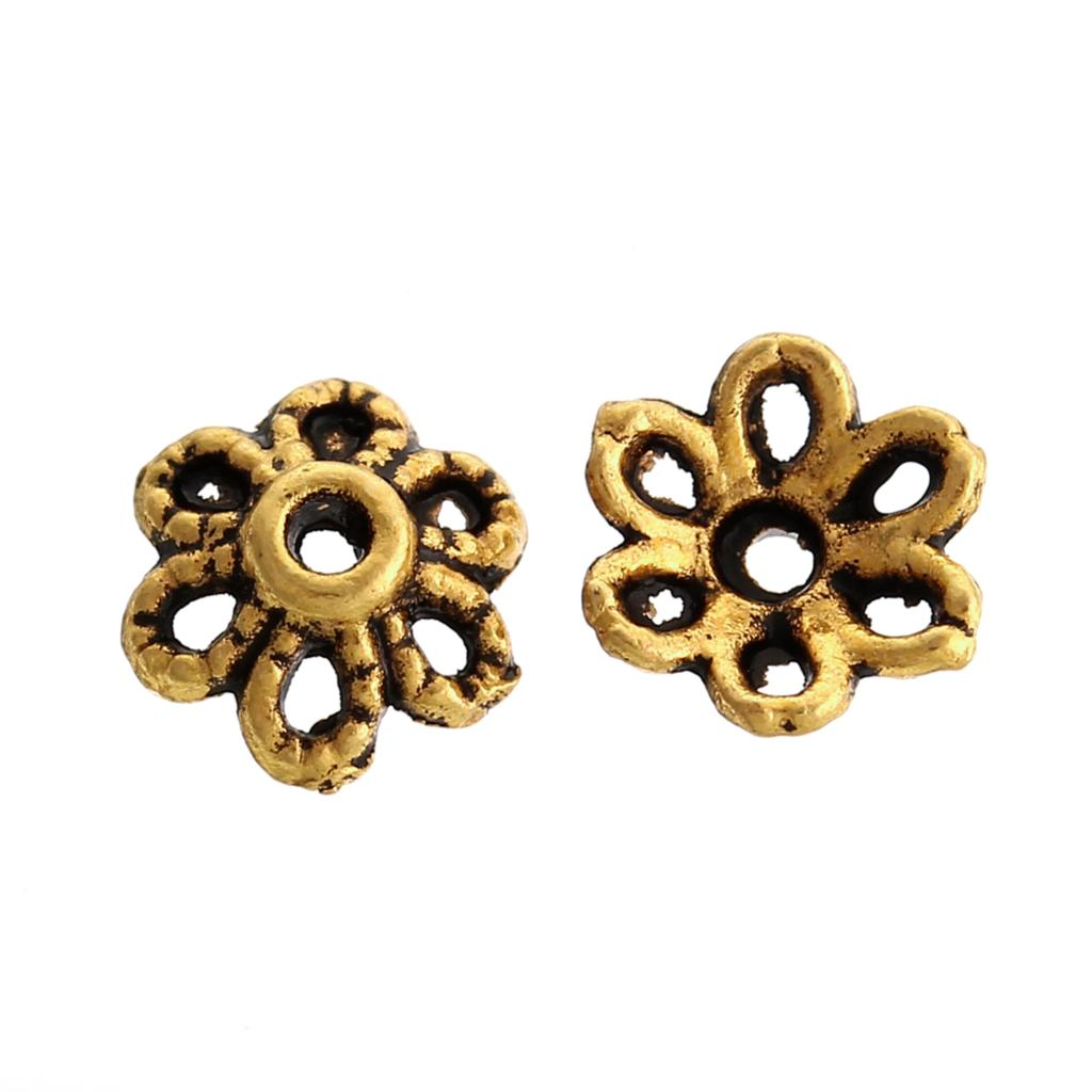 Zinc Metal Alloy Beads Caps Flower Gold Tone (Fits 12mm Beads) 6mm( 2/8