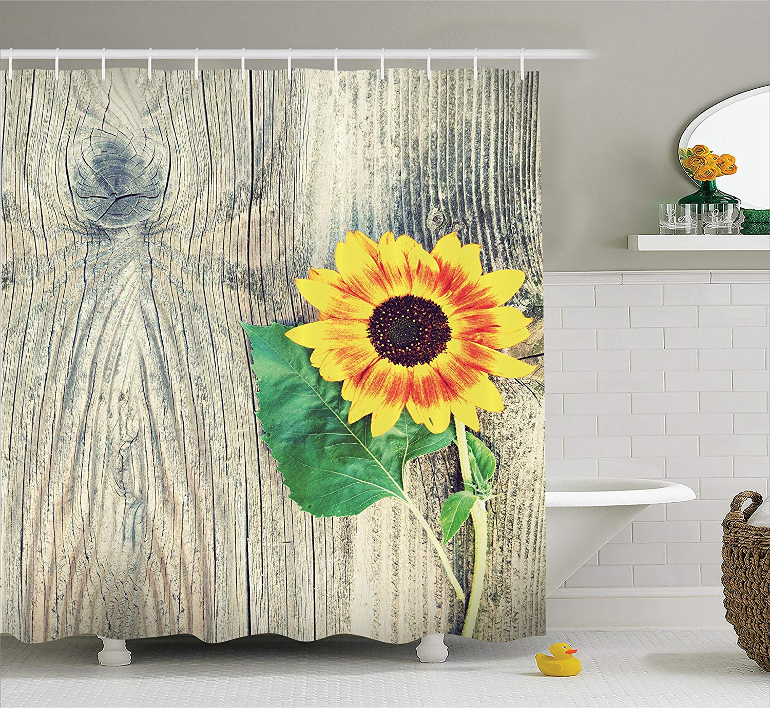 Us 17 24 31 Off Sunflower Shower Curtain On Wooden Old Board Bouqet Fl Gifts Of Mother Earth Artsy Photo Bathroom Decor In