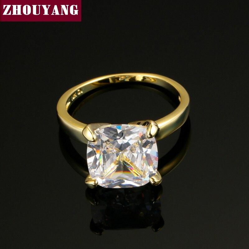 ZHOUYANG Classical Gift Princess Cut Big Square Cubic Zirconia Gold-Color Engagement Women Girl Rings ZYR471
