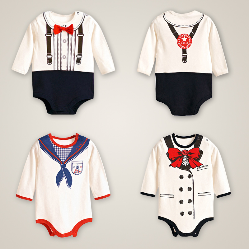 Newborn Baby Boy Gentleman Rompers Long Sleeve Cotton Next Baby Infant Jumpsuit Girl Clothes Roupas De Bebe Infantil Costumes penguin fleece body bebe baby rompers long sleeve roupas infantil newborn baby girl romper clothes infant clothing size 6m