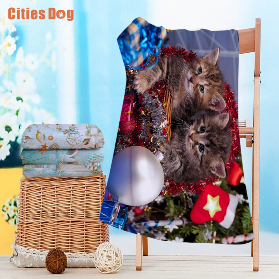 Beach towel new Year Sitting in the Christmas basket cat Microfiber Travel outdoors Sports Swimming Camping Bath Yoga Mat