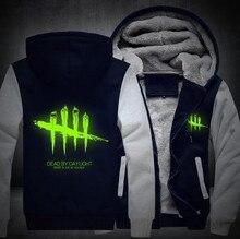 Free Shipping USA size Men Women Game Dead by Daylight Hoodie Luminous Zipper Cosplay Jacket Thicken Coat Sweatshirts Casual