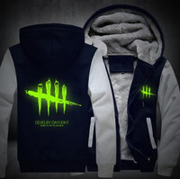Free Shipping USA Size Men Women Game Dead By Daylight Hoodie Luminous Zipper Cosplay Jacket Thicken