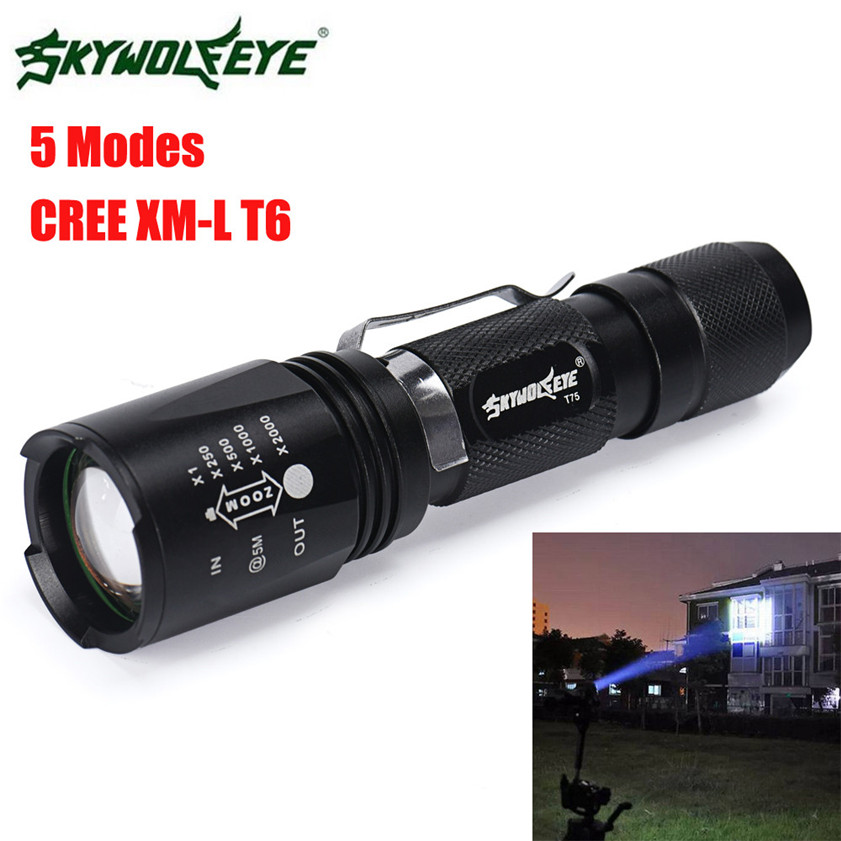 2017 Super Bright Zoomable CREE XM-L T6 LED 18650 Tactical Flashlight Torch Light 170127