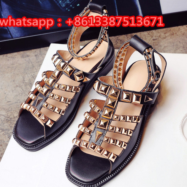 c0802a38dc11 Fashion Shoes Embellished Gold Studs Black Leather Gladiator Sandals Peep  Toe Ankle Strappy Buckle Cut Out Flat Women Shoes