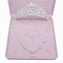 Continental branco brincos colar de strass coroa de noiva tres-pedaco joias cabelo do vestido de casamento nupcial com joias