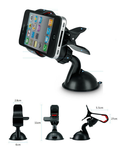 Universal Windscreen Car Phone Holder Windshield Stand Dashboard Clip 360 Degree Mount for Iphone 7 6 Xiaomi Lenovo Car-styling