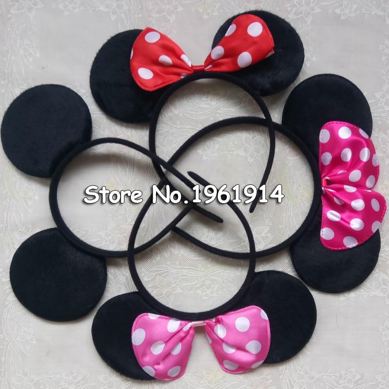 Minnie Mouse Ears Headbands 40 pc Black Pink Polka Dot Bow Mickey Birthday Party