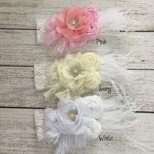 15 шт./лот, сатиновая Бандана с цветами из шифона, шифон, цветочное кружево, кружевной бант, повязка на голову для ребенка, повязка на голову