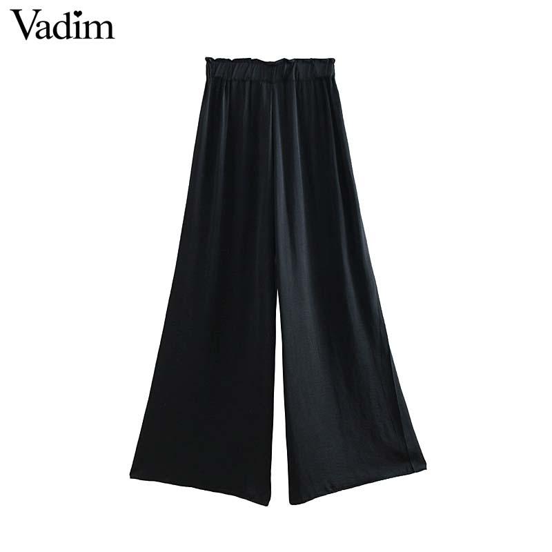 Vadim women elegent wide leg pants elastic waist casual female chic black white fashion style long trousers mujer KA694