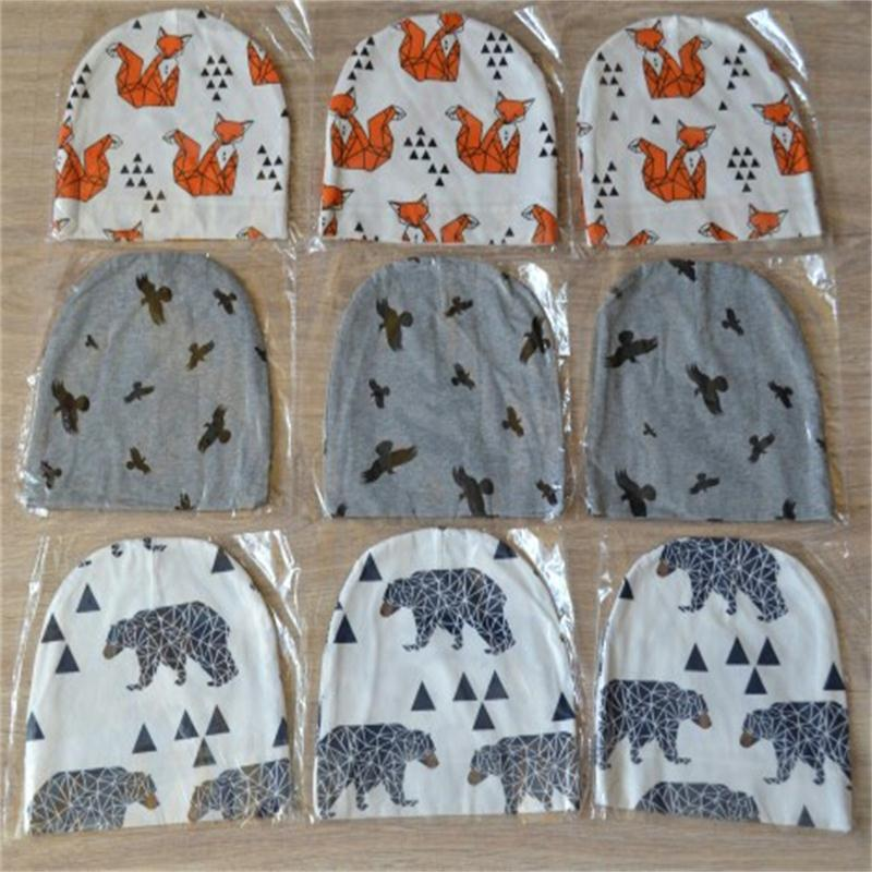 2016 Autumn Winter Animal Print Cotton Baby Hat Girl Boy Toddler  Kids Caps XY4082 цены онлайн