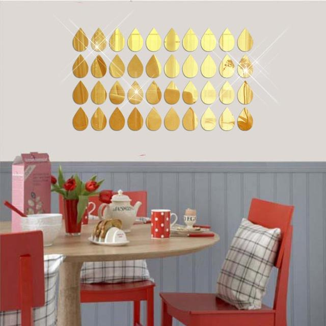 € 4.42 |50 Pcs 3D Miroir Raindrop Vinyle Amovible Wall Sticker Decal  Accueil décor Art DIY chambre de bébé papier peint pour chambre d\'enfants  porte ...