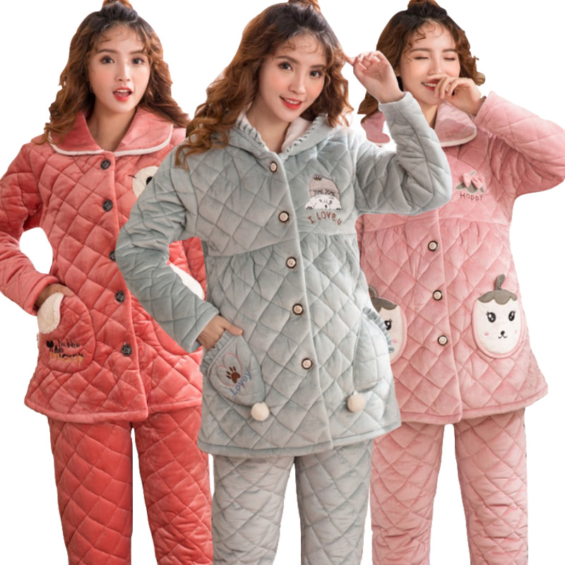 Pregnant Woman Pajamas Set Extra thick Maternity Cardigan+Trousers Pregnant Women Clothings Expectant Mother Sleepwear