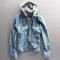 New Denim Hooded Jacket Men Casual Fashion Slim Jeans Outdoors Hoodies Cowboy Long Sleeve Male Jackets