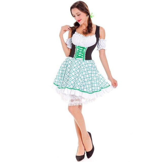 Adult Women Bavaria Maid Waitress Costume Dirndl Short Plaid Corset Dress Ladies Oktoberfest Sleeveless Outfit For  sc 1 st  AliExpress.com & Adult Women Bavaria Maid Waitress Costume Dirndl Short Plaid Corset ...