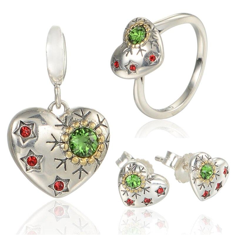 Cristal flocon de neige et étoiles ensembles en argent Sterling GW bijoux pour femmes boucles d'oreilles pendentif et anneau véritable Zircon collier SET-010H15