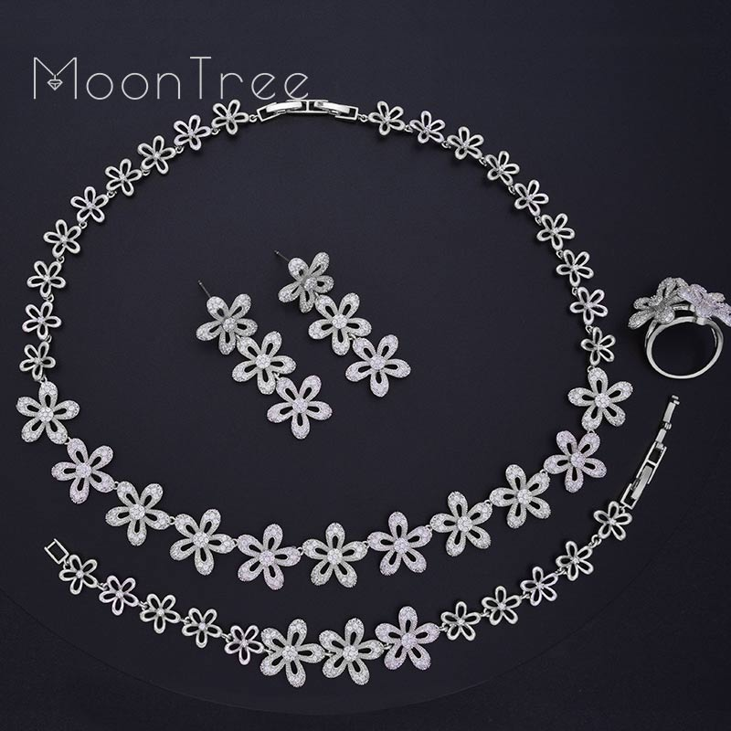 MoonTree Full Cubic Zirconia Fashion Trendy Daisy Flower Engagement Wedding Bridal Necklace Bracelet Earring Ring Set 4pcs bridal fashion flower cubic zirconia inlaid wedding necklace dangle earrings bracelet ring jewelry set boucle d oreille