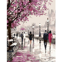 DIY Frameless Cherry Blossoms Road Oil Painting By Numbers Kits Wall Art Picture Home Decor Acrylic