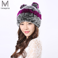 YWMQFUR Hot Cat Hat Winter Women Genuine Real Fur Rex Rabbit Hats Hand Knitted Female Beanie Hats Ladies Ear Caps Headwear H14