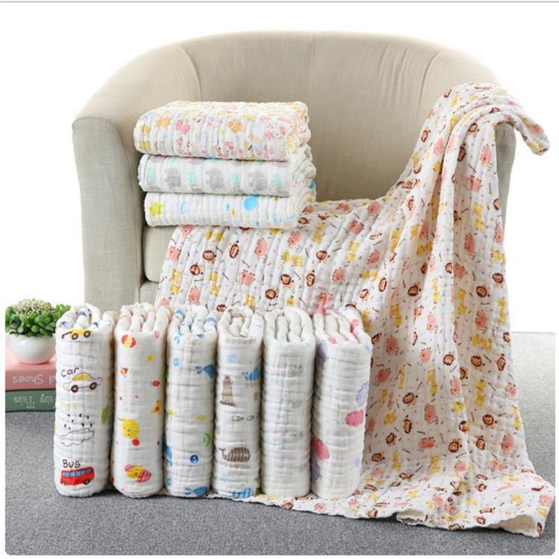 85*85 6 layers multi-use Muslin 100% cotton gauze Soft Newborn Baby Bath Towel Swaddle Blankets Multi Designs Baby Wrap